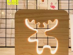 【新奇特】北欧实木3D创意镂空LED木艺小夜灯